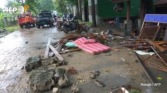 جانب من الدمار الذي خلفه تسونامي سوندا (AFP)