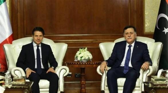 السراج ورئيس الحكومة الإيطالية جوزيبي كونتي في طرابلس (ليبيا 218)