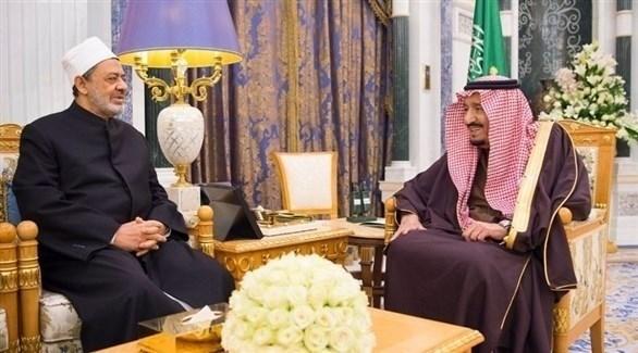خادم الحرمين الملك سلمان بن عبد العزيز وشيخ الأزهر أحمد الطيب (واس)