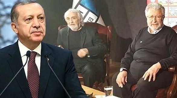 الممثلان التركيان مجدات والرئيس التركي رجب طيب أردوغان (أرشيف)