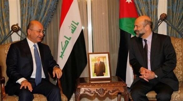 رئيس الوزراء الأردني عمر الرزاز والرئيس العراقي برهم صالح (أرشيف)