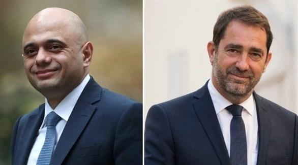 وزيرا الداخلية الفرنسي كريستوف كاستانير والبريطاني ساجد جاويد (أرشيف)