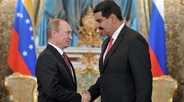 رئيس فنزويلا نيكولاس مادورو في لقاء سابق مع نظيره الروسي فلاديمير بوتين (أرشيف)