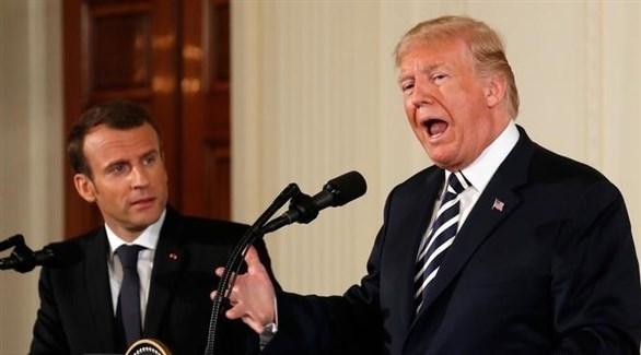 الرئيس الأمريكي دونالد ترامب ونظيره الفرنسي إيمانويل ماكرون (أرشيف)