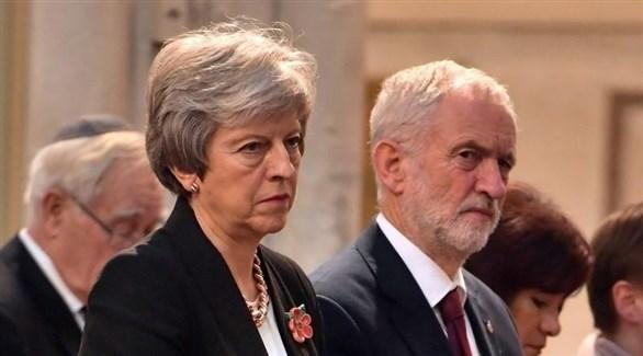 رئيسة وزراء البريطانية تيريزا ماي وزعيم حزب العمال جيريمي كوربين (أرشيف)