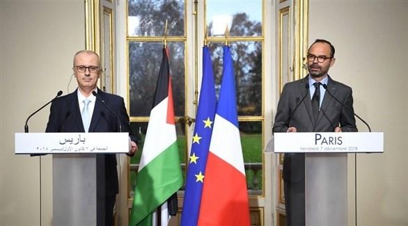 رئيس الوزراء الفرنسي مع نظيره الفلسطيني خلال المؤتمر الصحفي (وفا)