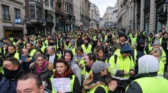 جانب من احتجاجات السترات الصفراء في باريس (تويتر)