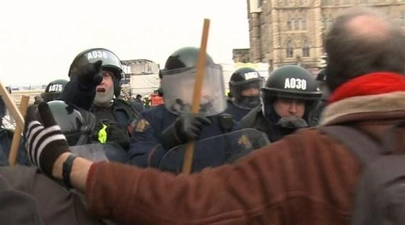 جانب من الاحتجاجات أمام البرلمان الكندي (أوتاوا سي تي في)