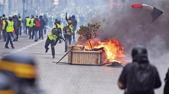 جانب من التظاهرات في باريس (تويتر)