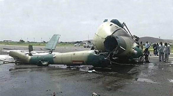حطام المروحية السودانية بعد سقوطها (الشروق)