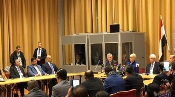 جانب من المشاورات اليمنية في السويد بحضور المبعوث الأممي غريفيث (الكومبيس)