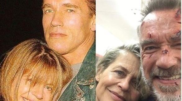 النجم أزنولد شوارزنيجر والنجمة ليندا هاميلتون (انستغرام)