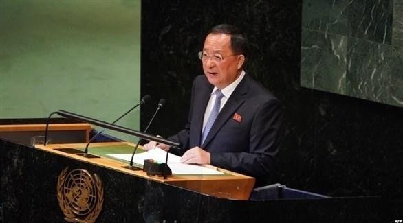 وزير خارجية كوريا الشمالية، ري يونغ هو، في خطابه أمام الجمعية العامة للأمم المتحدة(ا ف ب)