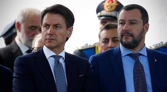 رئيس الوزراء الإيطالي كونتي ووزير الداخلية المتشدد سالفيني (أرشيف)