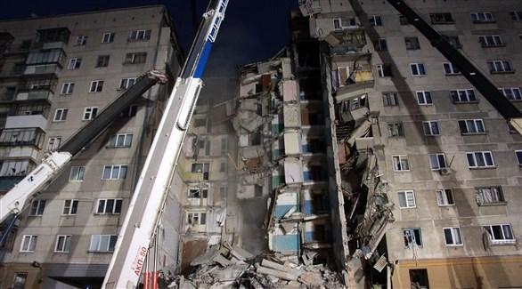 المبنى المدمر في روسيا بسبب تسرب الغاز (أ ف ب)