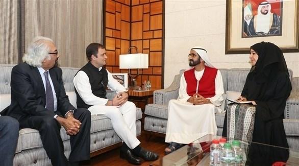محمد بن راشد ورئيس حزب المؤتمر الوطني الهندي (تويتر)