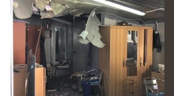 بعض الأضرار التي طالت المجمع بعد قصفه (تويتر)