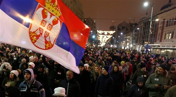 مظاهرات في صربيا (تويتر)