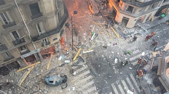 جانب من الانفجار الذي وقع في باريس أمس السبت (أ ف ب)