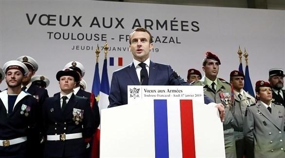 الرئيس الفرنسي أيمانويل ماكرون يلقي كلمة للقوات المسلحة في تولوز (تويتر)