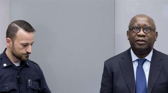 رئيس ساحل العاج غباغبو خلال إحدى جلسات المحاكمة (أرشيف)