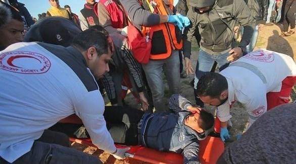 مصاب فلسطيني أثناء مظاهرات العودة (معا)