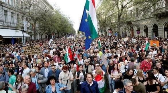 جانب من التظاهرات في بودابيست (أرشيف)