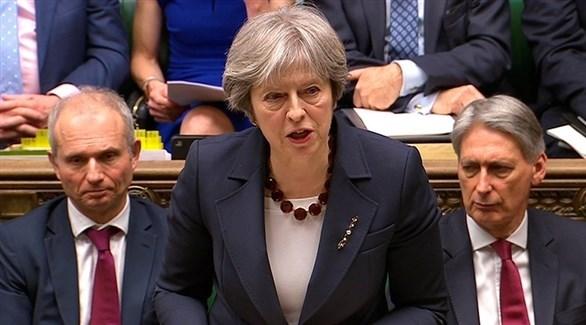 رئيسة الوزراء تيريزا ماي في البرلمان البريطاني (أرشيف)