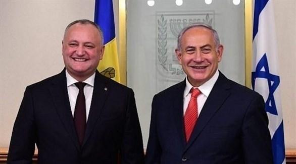 رئيس الوزراء الإسرائيلي بنيامين نتانياهو ورئيس مولدافيا إيغور دودون (أرشيف)