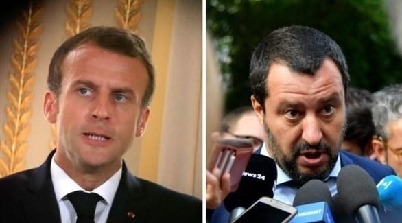 وزير الداخلية الإيطالي ماتيو سالفيني (يمين) والرئيس الفرنسي إيمانويل ماكرون (أرشيف)
