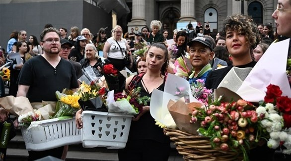 أستراليون في وقفة احتجاجية بعد مقتل آية مصاروة في ملبورن (تويتر)