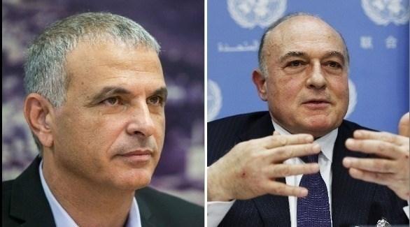 وزير المالية الفلسطيني بشارة (يمين) ونظيره الإسرائيلي كحلون (أرشيف)
