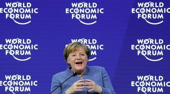 المستشار ة الألمانية أنجيلا ميركل في دورة سابقة من منتدى دافوس (أرشيف)