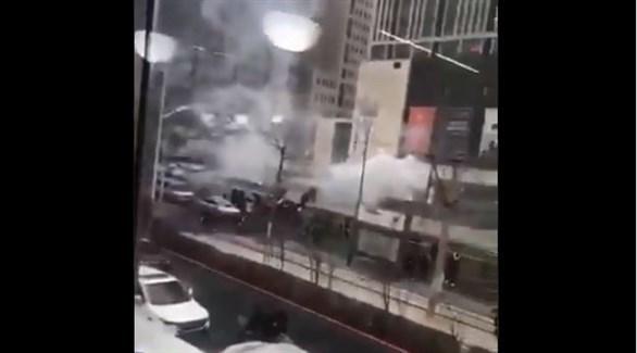 صورة متداولة للمبنى الصيني بعد الانفجار (تويتر)