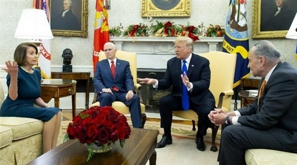 الرئيس الأمريكي ونائبه وزعيما الديمقراطيين في مجلس النواب (أرشيف)