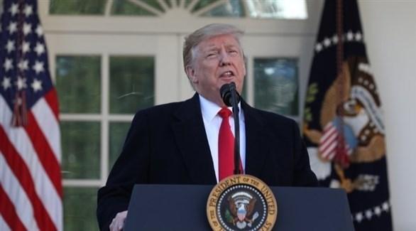 الرئيس الأمريكي متحدثاً عن إنهاء إغلاق الحكومة (أ ف ب)
