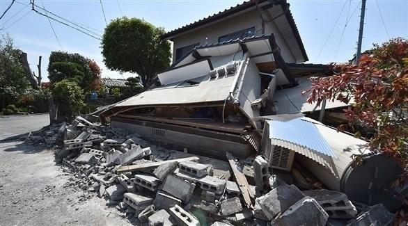 بيت مهدم جراء زلزال سابق في اليابان (أرشيف)