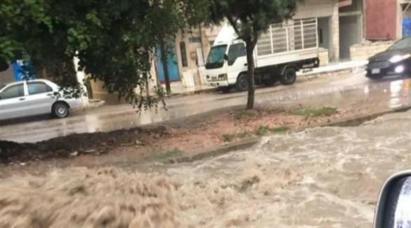 جانب من الفيضانات في الجزائر (تويتر)