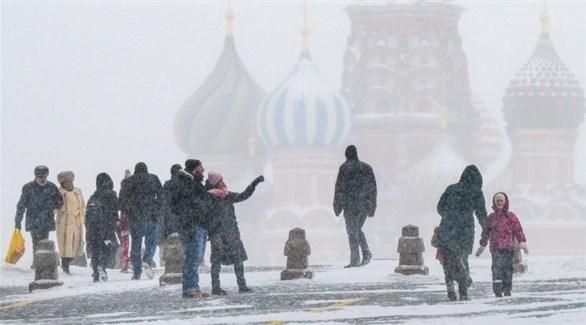 الثلوج في موسكو (أ ف ب)