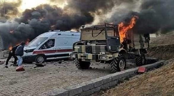 احتراق شاحنة تركية في شمال العراق بعد المواجهات مع الأكراد (روداو)