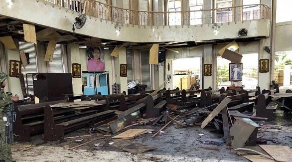 كنيسة جولو بعد استهدافها من قبل داعش (أ ف ب)