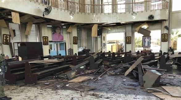 آثار التفجير داخل الكنيسة الفلبينية(أرشيف)