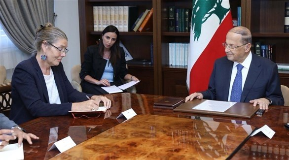 الرئيس اللبناني العماد ميشال عون ومنسقة الأمم المتحدة في لبنان برنيل دالير كارديل (أرشيف)