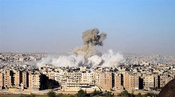 تصاعد أعمدة الدخان بعد قصف سابق في سوريا (أرشيف)