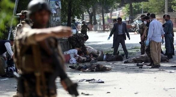 جانب من التفجير الذي تبناه داعش في أفغانستان (أرشيف)