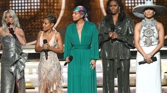 ميشال أوباما وليدي غاغا وجادا سميث في حفل جوائز غرامي
