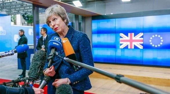 ماي تتحدث للصحافة عقب اجتماعها مع رئيس المجلس الأوروبي (EPA)