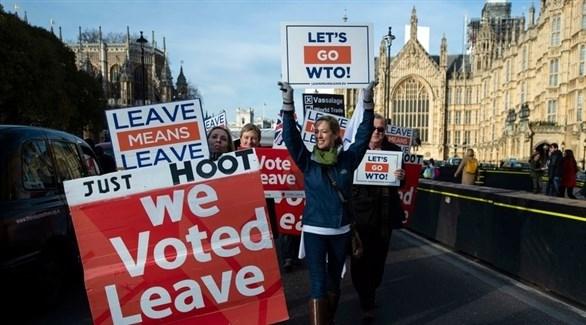 مسيرة خارج مبنى البرلمان البريطاني تطالب بالخروج من الاتحاد الأوروبي (EPA)