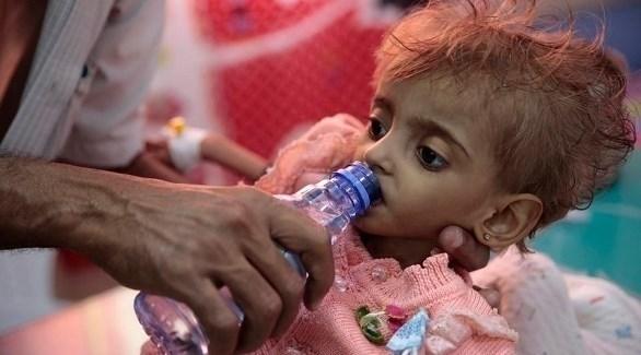 رضيعة يمنية تعاني سوء التغذية في مناطق ميليشيا الحوثي (أرشيف)