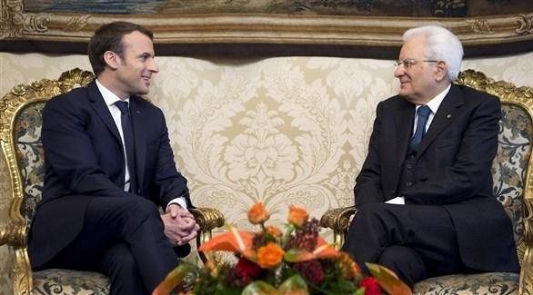 الرئيسان الإيطالي سيرجو ماتاريللا والفرنسي إيمانويل ماكرون (أرشيف)
